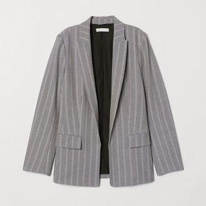 H&M Gray Striped Straight-Cut Oversized Blazer
